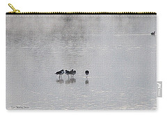 Carry-all Pouch featuring the photograph  Stilt Friends In The Fog by Tom Janca