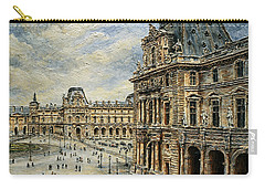 Carry-all Pouch featuring the painting  The Louvre Museum by Joey Agbayani