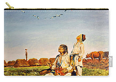 Carry-all Pouch featuring the painting End Of The Summer- The Storks by Henryk Gorecki