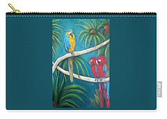 Three Is A Crowd,macaws Carry-all Pouch