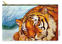 Carry-all Pouch featuring the painting  Tiger Sleeping In Snow by Bob and Nadine Johnston