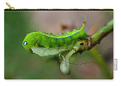 Carry-all Pouch featuring the photograph  Wet Caterpillar by Michelle Meenawong