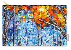 Carry-all Pouch featuring the painting  Silence Winter Night Light Reflections Original Palette Knife Painting by Georgeta Blanaru