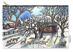 Wyoming Winter Street Scene Carry-all Pouch