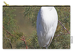 Carry-all Pouch featuring the photograph  Yellow Foot Snowy Egret On Perch by Tom Janca