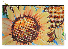 Carry-all Pouch featuring the painting Abstract Sunflowers by Chrisann Ellis