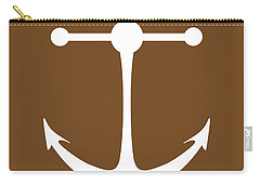 Anchor In Brown And White Carry-all Pouch