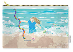 Carry-all Pouch featuring the digital art Beach Rainbow Girl by Kim Prowse