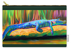 Carry-all Pouch featuring the painting Blue Alligator by Deborah Boyd