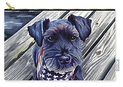 Blue Black Dog On Pier Carry-all Pouch