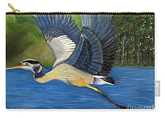 Carry-all Pouch featuring the painting Blue Heron In Flight by Brenda Brown
