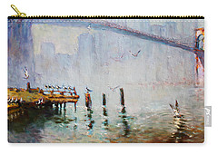 Brooklyn Bridge In A Foggy Morning   Carry-all Pouch by Ylli Haruni