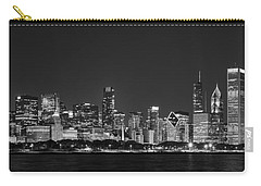 Chicago Skyline At Night Black And White Panoramic Carry-all Pouch by Adam Romanowicz