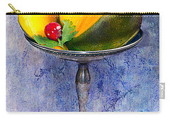Cut Mango On Sterling Silver Dish Carry-all Pouch