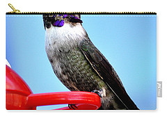 Carry-all Pouch featuring the photograph Male Anna On Perch by Jay Milo