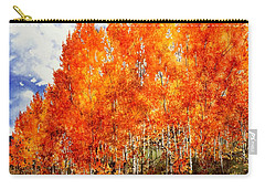 Flaming Aspens 2 Carry-all Pouch by Barbara Jewell