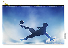 Football Soccer Match A Player Shooting On Goal Carry-all Pouch by Michal Bednarek