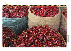 Carry-all Pouch featuring the photograph Fresh Dried Chilli On Display For Sale Zay Cho Street Market 27th Street Mandalay Burma by Ralph A  Ledergerber-Photography