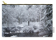 Fresh Snow Falls Along The Tree Lines Stream Carry-all Pouch