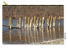 Carry-all Pouch featuring the photograph Frozen Pilings by Michael Porchik