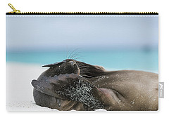 Galapagos Sea Lion Pup Covering Face Carry-all Pouch