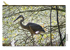 Carry-all Pouch featuring the photograph Great Blue Heron In Bushes by Karen Silvestri