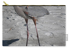 Carry-all Pouch featuring the photograph Great Blue Heron On The Beach by Christiane Schulze Art And Photography