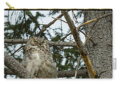Carry-all Pouch featuring the photograph Great Horned Owls by Michael Chatt