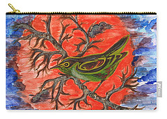 Carry-all Pouch featuring the painting Green Warbler by Teresa White