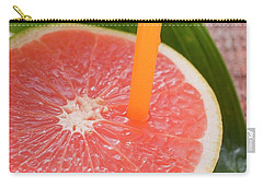 Half A Pink Grapefruit With A Straw Carry-all Pouch