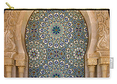 Carry-all Pouch featuring the photograph Holy Water Fountain Hassan II Mosque Sour Jdid Casablanca Morocco  by Ralph A  Ledergerber-Photography