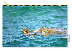 Carry-all Pouch featuring the photograph Honu Hawaiian Green Sea Turtle by Lehua Pekelo-Stearns