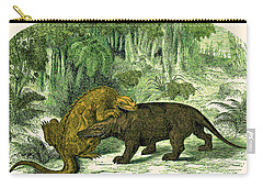 Iguanodon Biting Megalosaurus Carry-all Pouch by Wellcome Images