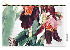 Watercolor Of A Pink And Maroon Tall Bearded Iris I Call Iris La Forza Del Destino Carry-all Pouch