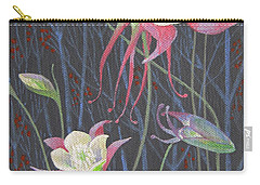 Carry-all Pouch featuring the painting Japanese Flowers by Marina Gnetetsky