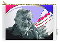 Carry-all Pouch featuring the photograph John Wayne Out Of Costume With Flag by David Lee Guss