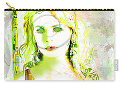 Carry-all Pouch featuring the digital art Lily Lime by Kim Prowse