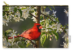 Red Cardinal In Flowers Carry-all Pouch