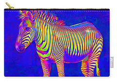 Carry-all Pouch featuring the digital art Neon Zebra 2 by Jane Schnetlage