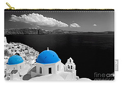 Oia Town On Santorini Island Greece Blue Dome Church Black And White. Carry-all Pouch