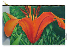 Carry-all Pouch featuring the painting Orange Lily by Pamela Clements