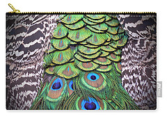 Carry-all Pouch featuring the photograph Peacock Plumage  by Jim Fitzpatrick
