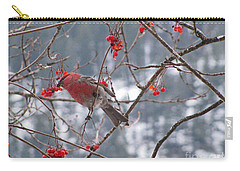 Pine Grosbeak And Mountain Ash Carry-all Pouch