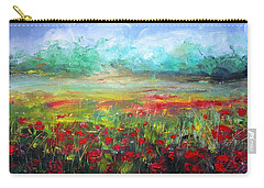 Carry-all Pouch featuring the painting Poppy Fields by Vesna Martinjak