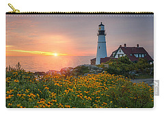 Portland Head Light Sunrise  Carry-all Pouch by Michael Ver Sprill