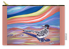 Carry-all Pouch featuring the painting Posy 2 The Roadrunner by Phyllis Kaltenbach