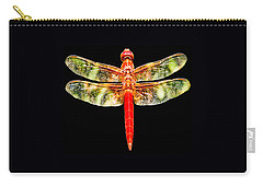 Red Dragonfly Small Carry-all Pouch by Tony Grider