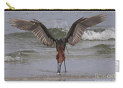Reddish Egret Fishing Carry-all Pouch by Meg Rousher