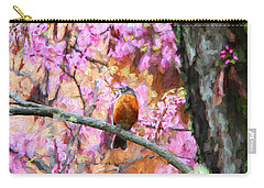 Robin In A Red Bud Tree Carry-all Pouch