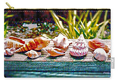 Carry-all Pouch featuring the photograph Shell Collection by Annie Zeno